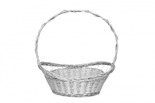 FULL WILLOW PLAIT WHITE BASKET