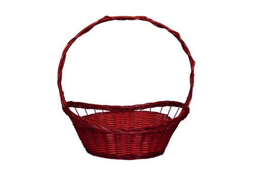 FULL WILLOW PLAIT RED BASKET