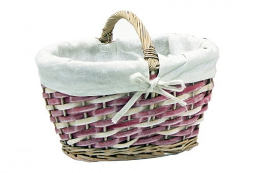 WICKER BASKET AND PINK FABRIC