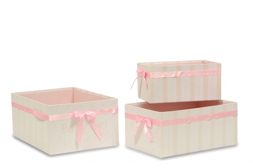 S/3 BABY GIRL CARDBOARD BASKET DRAWER