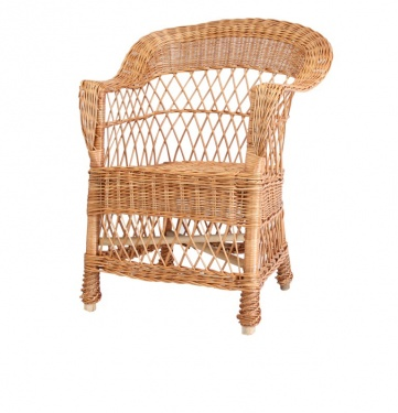 PINE VARNISHED WICKER ARMCHAIR